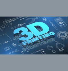 3d printing isometric background vector