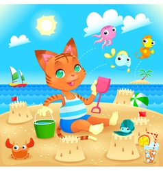 Young cat makes castles on the beach vector
