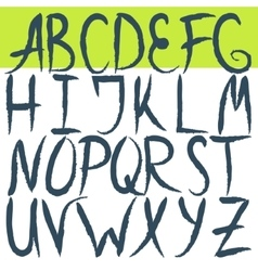Hand drawn brushed letters alphabet grunge font vector