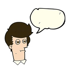 Cartoon man with narrowed eyes with speech bubble vector