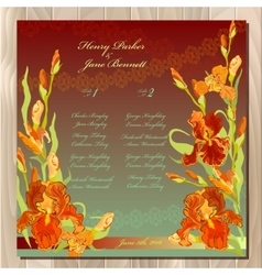 Table guest list background with red iris flowers vector