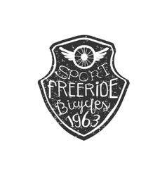 Freeride vintage badge with winged wheel vector
