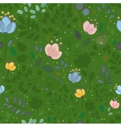 Summer watercolor flowers green seamless pattern vector