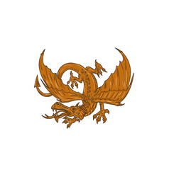 agressive dragon crouching drawing vector image
