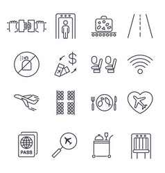 Airport element line icons graphic logo vector