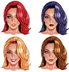 Beautiful girls with nice haircuts vector image