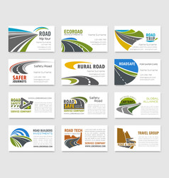Business card template with road and highway vector