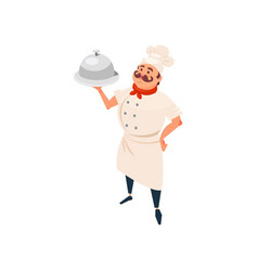 cheerful restaurant cook standing and holding dish vector image vector image