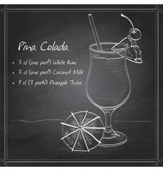 Cocktail pina colada on black board vector