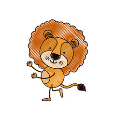 Color crayon silhouette caricature with cute lion vector