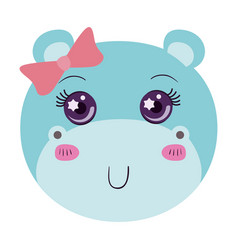 Colorful caricature face of female hippo animal vector