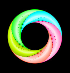 Colorful spiral ring with dot accent on black vector