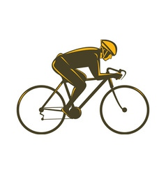 Cyclist riding bicycle viewed from side vector