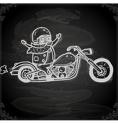 Hand drawn bikie on a motorbike vector