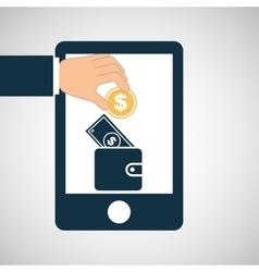 hand save wallet bill money icon vector image