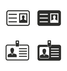 identification card icon set vector image vector image