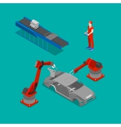 Isometric car production assembly line factory vector