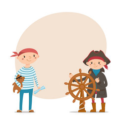 little boys dressed as pirates with place for text vector image