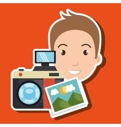 Man photo camera graphic vector