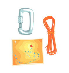 map and climbing equipment vector image vector image