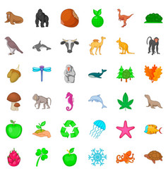Our globe icons set cartoon style vector