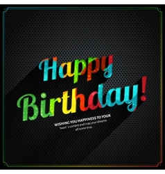 retro birthday card with colorful text on metal vector image