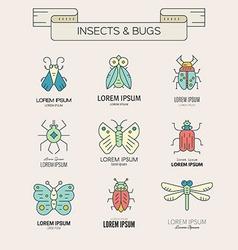 Retro bugs vector