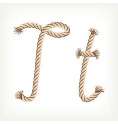 Rope alphabet Letter T vector image
