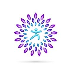 Round Yoga Emblem vector image vector image