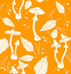 Seamless orange mushroom background vector