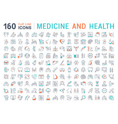 set flat line icons medecine and health vector image