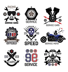 Set logo for moto shops and service cars vector