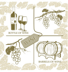 set symbols on the theme of grapes white wine and vector image vector image