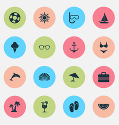Summer icons set collection of armature baggage vector