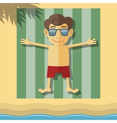 Sunbathing boy vector image vector image