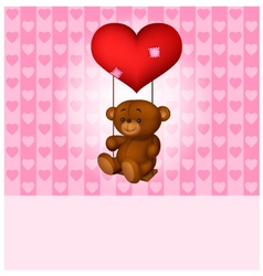 Toy teddy bear swinging on the balloon-heart vector