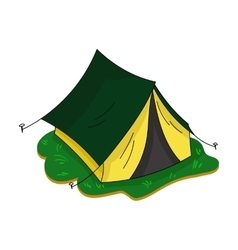Yellow tent icon in cartoon style isolated on vector
