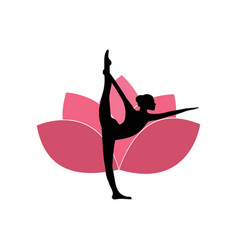 Yoga woman silhouette pink lotus flower background vector