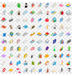 100 college icons set isometric 3d style vector