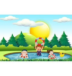 Children swimming in the pool vector