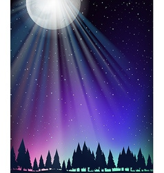 Nature scene with moon and stars vector image