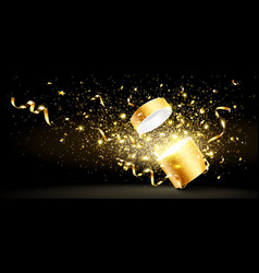 Golden gift with confetti vector