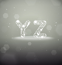Glowing Font from Y to Z on Bokeh Backgroun vector image