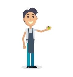 Boy with grapes isolated winemaker gather harvest vector