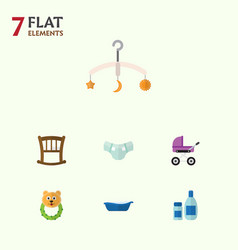 Flat child set of cream with lotion nappy vector