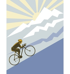 Cyclist riding bicycle up mountain vector