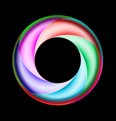 Colorful spiral ring with metal gloss on black vector