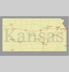Kansas accurate exact detailed state map with vector