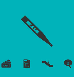 Medical thermometer icon flat vector