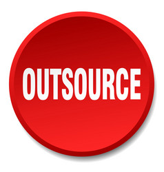 Outsource red round flat isolated push button vector